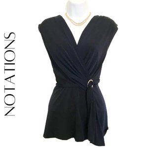 NOTATIONS Sleeveless Drape Front Blouse, M, NWT!